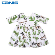 Cute Toddler Kids Baby Girl Short Sleeve Deer Print Dress Princess Party Pageant Holiday Dresses 0-6Y