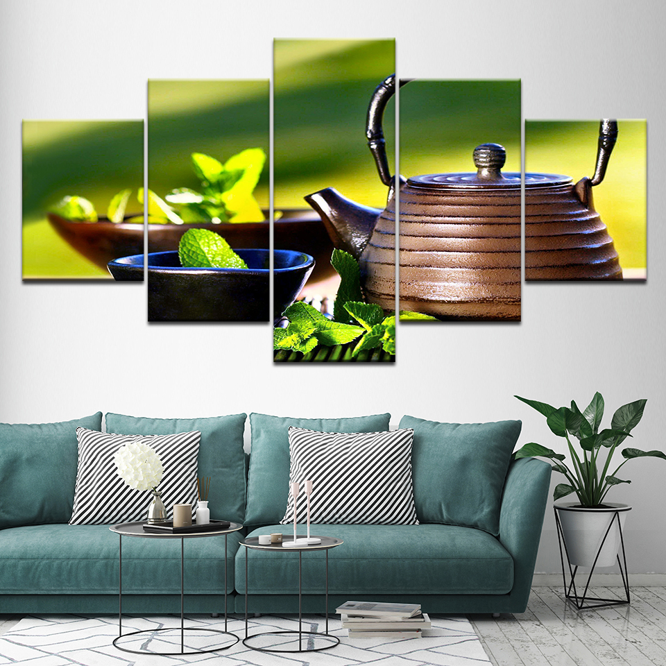 Canvas Painting Chinese tea green tea 5 Pieces Wall Art Painting Modular Wallpapers Poster Print living room Home Decor