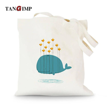 TANGIMP Cute Dolphin Whale Canvas Handbags Cotton Tote Eco Shopping Beach Bags bolsa compra Women Girl Shoulder Bags 37x40cm
