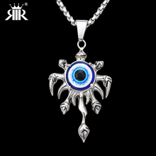 RIR Men's Punk Style Skeleton Skull Finger Evil Eyes Pendant Necklace Stainless Steel Fashion Cool Vintage Gold Necklace LP1008(China)