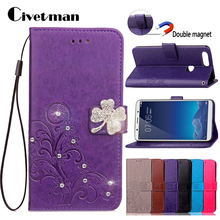 "Cover Cell Phone Case For BBK Vivo X20 Plus 6.43"" Flip PU Leather TPU Shell Clover Style Diamond Double magnet Holster Card Bag(China)"
