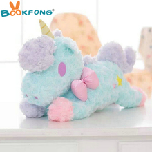 55cm Big Size high quality horse Plush Toys pink blue Bow tie Unicorn Plush Toys Baby kids Soft doll christmas birthday Gift