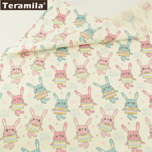 Teramila Fabric 100% Cotton Twill Fat Quarter Quilting Material Bed Sheet Home Textile Patchwork Printed Cartoon Rabbits Design(China)