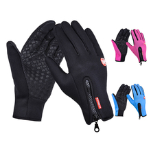 Adjustable Touch Screen Outdoor Sports Windstopper Ski Gloves Blue Riding Gloves Motorcycle Glove Mtb Cycling Glove Mens Women(China)