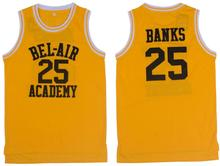Yellow Basketball Jersey 25# Movie Banks the Fresh Prince Jersey Hip Hop Basketball Jersey Cool Classic T-shirts Throwback