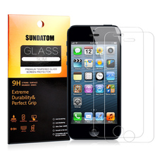 SUNDATOM Tempered Glass Screen Protector for iPhone5 iPhone SE 5 5C 5S 5SE  HD Clear Film Glossy  Anti-Glare Round Edge