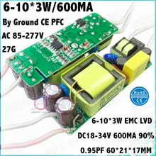 5Pcs By CE PFC Ground 20W AC85-277V LED Driver 6-10x3W 600MA DC18-34V Constant Current LED Power For LED Bulb Lamp Free Shipping