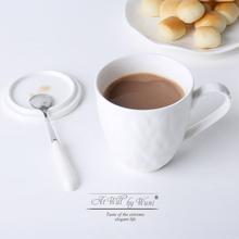 Simple large capacity coffee cup with cover spoon ceramic tea milk cup paper folding pattern drinkware(China)