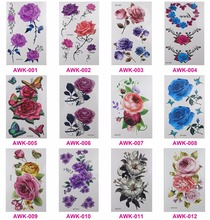 12 PCS/lot temporary tattoo women 3D tattoo Flowers tattoos transferable jewelry henna tattoo body art sex product stickers(China)