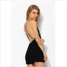 Large Big Size XS-XXL Summer Women's Jumpsuits Black Backless Bodysuits pants deep V-neck Sexy hollow chiffon Short jumpsuit