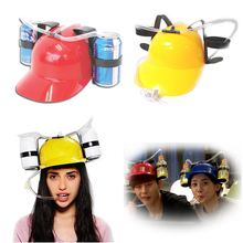 Lazy Creative Straw Drinking Helmet Cap Funny Party Bar Beer Soda Dual Can Holder Hard Hat