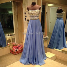 New Design Boat Neck Long Chiffon Evening Party Dresses Gown Heavy Crystal Elegant Prom Formal Dress Vestido Longo Fast Delivery