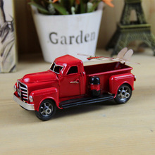 Zakka Vintage Die-cast Pick Up Car Model Metal Toys Cool Antique Mini Red Car Home Decoration Iron Craft