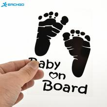 2016 Refective Car Sticker Lovely Letter Baby on Board Baby Footprints Stickers Auto Safety Warning Window Sticker Black White