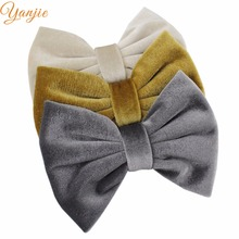 "9pcs/lot Classical 5"" Big Soft Velvet Kids Girl Hair Bows For Men Wedding Tie Brooch Barrette Hair Clip For Party Headband(China)"