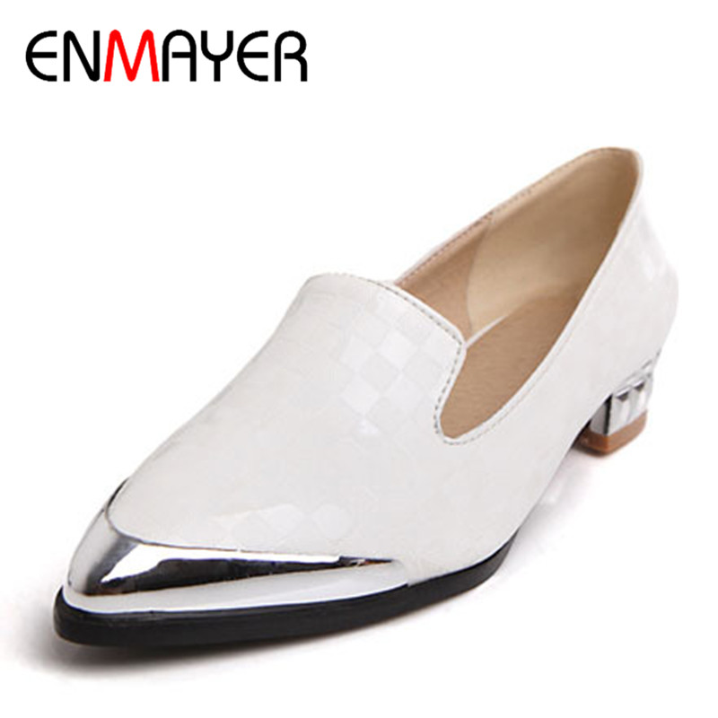 ENMAYER Pointed Toe med Square heel Casual shoes PU  size34-43 Women Pumps Summer Spring Autumn Shoes Platform Pumps shoes women<br><br>Aliexpress