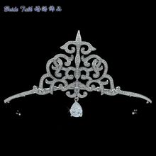 Vintage Tall Tiara Dangle AAA CZ Crown Bridal Wedding Hair Jewelry Accessories Women Pageant Headpiece TR15124