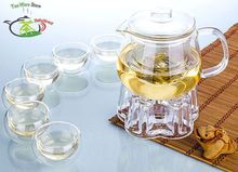 1x Chinese Kung fu Coffee Tea Set -16.9 fl.oz 500ml Heat-Resisting Glass Tea Pot +Crystal Warmer +6 Double Wall Glass Small Cups
