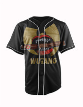 Real American Size  wutang 3D Sublimation Print Custom made Button up baseball jersey plus size
