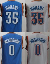 2016 New Men's 35 kevin durant jersey,white blue color size S~XXL 0 Russell Westbrook jersey,100% stitch Cheap basketball jersey