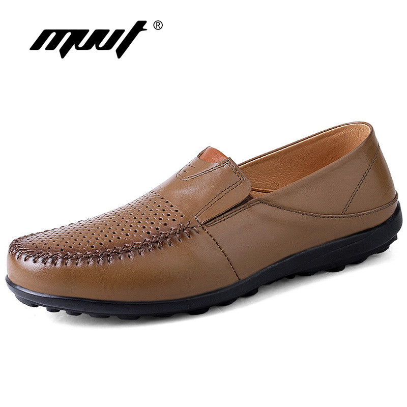 MVVT Plus Genuine Leather Casual Shoes Men 2 Style Summer Breathable Men Loafers Slip-on Men Flats Shoes For Driving<br>