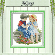Kid childhood Innocence,print on canvas DMC 14CT 11CT Cross Stitch kit,embroidery needlework Sets,lovely boy and Girl Home Decor(China)