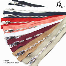 10cm-20cm 10pcs Close-End Metal Zippers With Pearl Slider, Multi-color #5 Zippers For DIY Sewing 9 Colors Available(China)