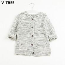 V-TREE Boys Girls Sweaters Baby 100% Cotton Sweaters Children Cardigan Knitted Coats Spring Autumn Winter Toddlers Hooded Cloth