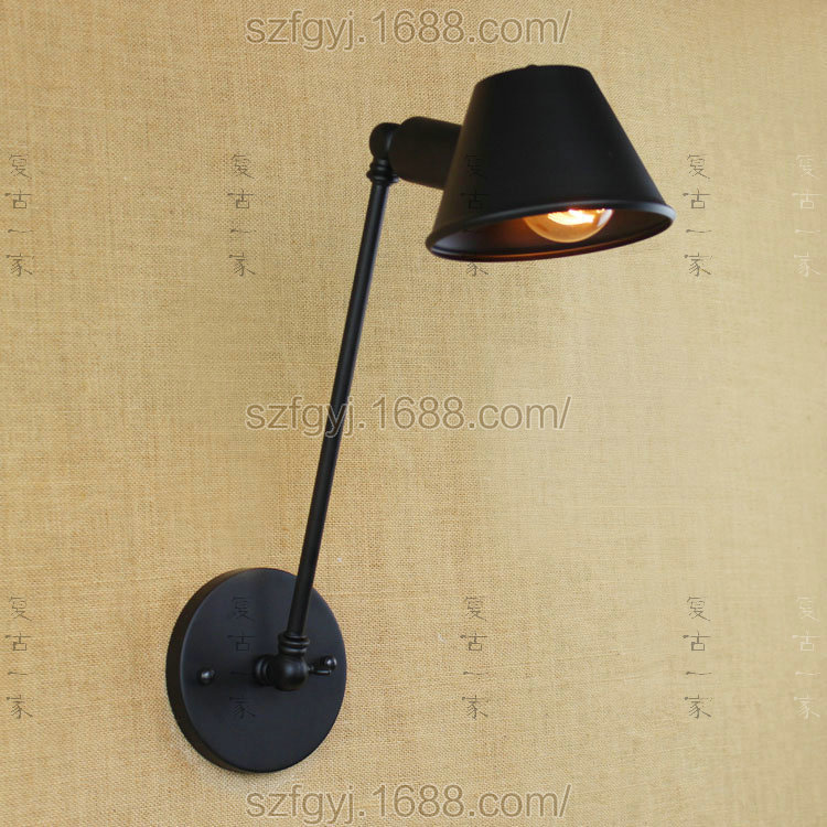 American Style Retro Industrial Creative Wall Lamp Wrought Iron Study Bedroom Lighting Swing Arm With Light Bulb WWL080<br><br>Aliexpress