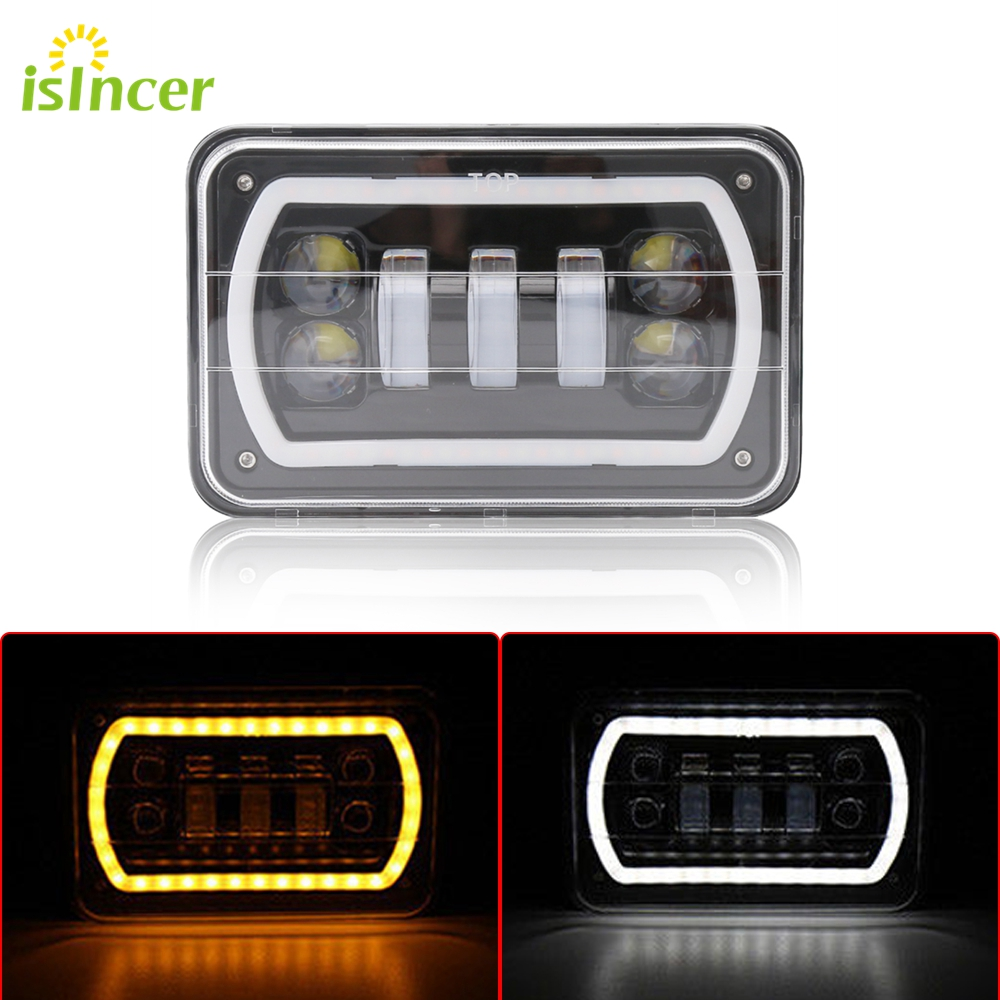 4X6 Car Led Headlight Square Light White Halo DRL Amber Turn Signal Sealed high/low Beam Replacement For Ford Trucks Offrord<br>