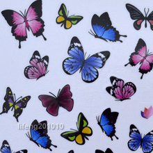 2 Sheets/lot Butterfly water transfer nail art decoration sticker halloween nail decals C029
