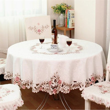 European Elegant Polyester Embroidery Tablecloth Embroidered Floral Cutwork round Table Cloth Dust Covers with Lace Edge beige