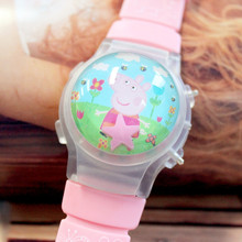 Wholesale 100pcs/lot Cute Girl's Wristwatch Fashion Cartoon Watch With Flashing Light Silicone Children LED Watch With Calendar
