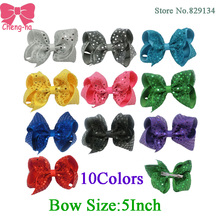 5 Inch Fashion Sequin Hair Bow Hairpins Handmade Girls Hairbows Accessories Boutique Hair Clips For Children 10 Color In Stock