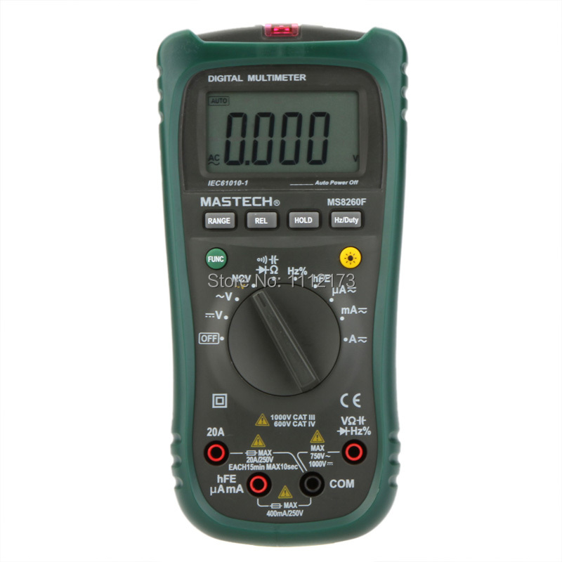 MASTECH MS8260F 4000 Counts Auto Range Megohmmeter DMM Frequency Capacitor w/NCV &amp; hFE Meter &amp; LCD Backlight Multimetro<br>