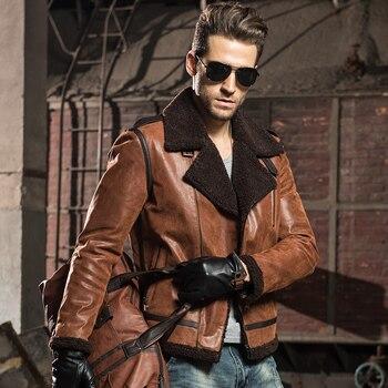 Hommes de Véritable peau de porc En Cuir moto vestes en cuir véritable avec faux fourrure en peau de mouton aviator bomber veste hiver manteau hommes