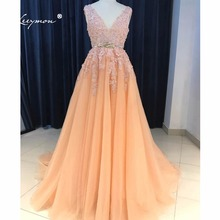 Leeymon V-Neck Prom Dresses Sheer Back Lace Evening Party Dress A-Line Vestido De Festa Cheap Long Prom Dress LY7223