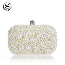 Factory New Design Pearl Diamond Evening Tote Party Bag Women Pearl Day Clutch Dinner Purses Fashion Weeding Mini Handbag 7t