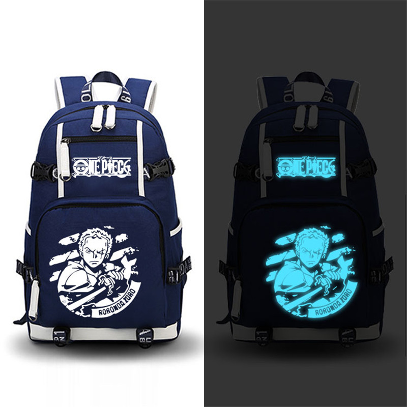 Anime One Piece Roronoa Zoro Chopper Luffy Cosplay Printing Laptop Bags Fashion Canvas Women School Backpacks Military Backpack<br>