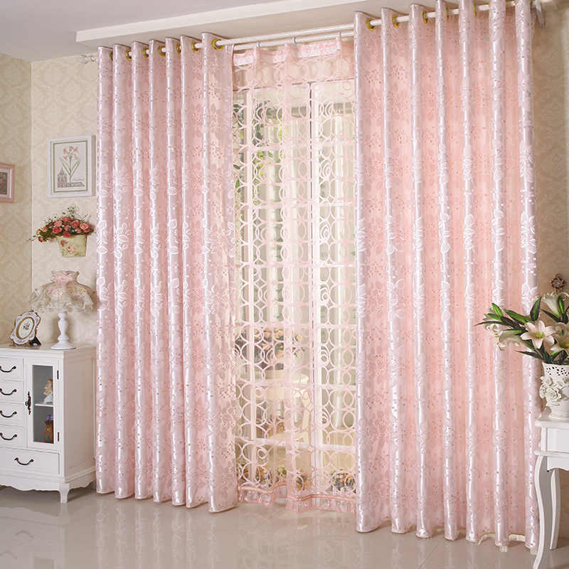 Jacquard Light Pink 60% Shade Curtain For Living Room Princess Bedroom