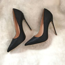 Free shipping real pics hot sale office lady sexy black snake python women lady 120mm high heel shoes pump brand designer