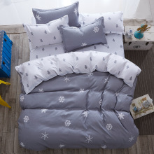 luxury Home textiles bedclothes snowflake Stripe 4pc/ 3pc christmas Bedding sets Cotton bed linen duvet cover housse de couette(China)