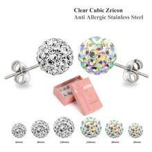 Fashion White And Multicolour Cubic Zircon Clay Beads Earrings Rhinestone Shamballa Earrings Set Fashion Jewelry
