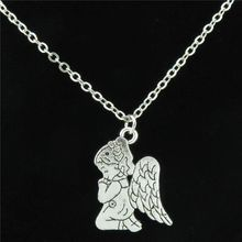 Free shipping  R1902 20-1 Silver Chain Angel Wing Pray Fairy Wish Pendant Choker Collar Necklace 18""