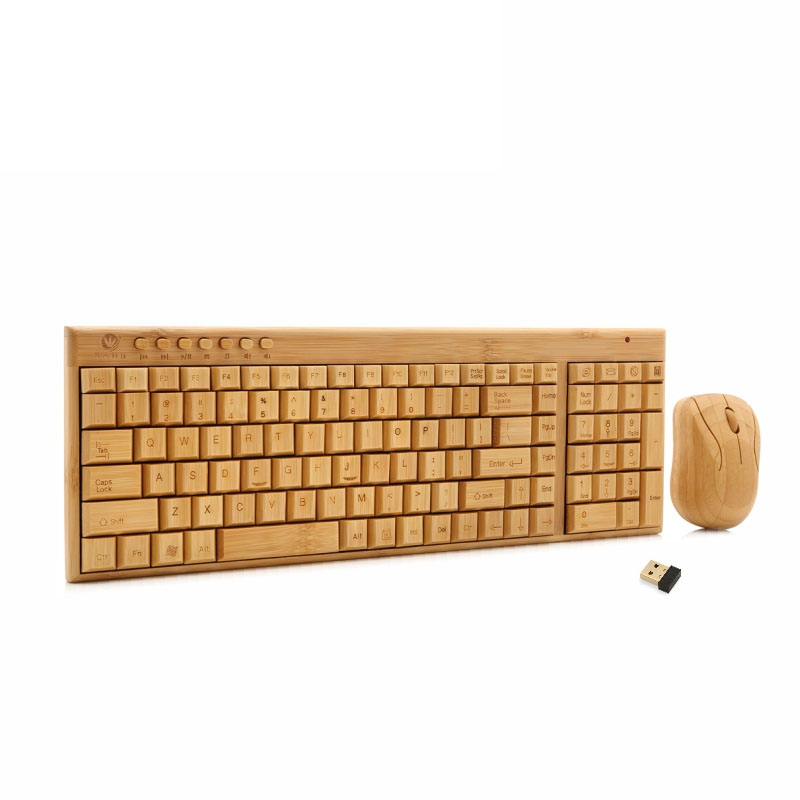 New Art Handmade 2.4GHz Wireless Bamboo Keyboard Mouse Multimedia Function Keys & Mouse Combo QJY99(China (Mainland))