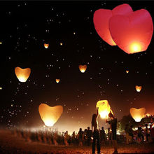 10-Pack Red Heart Sky Lanterns Chinese Paper Sky Candle Fire Balloons for Wedding Anniversary Party Valentine Decor Lanter