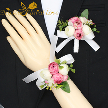 Artificial flower heads 6 branches rose heads Diy handmade corsage silk flower boutonniere wedding decoration brooch flowers(China)