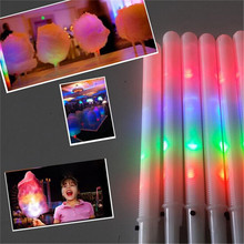 50pcs/lot Christmas 28*1.75CM LED Cotton Candy Floss Stick fairy light up toys kids glow stick for party decoration supplies(China)
