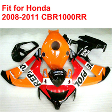 100% fit for HONDA injection mold CBR1000RR fairings 2008 2009 2010 2011 red orange REPSOL fairing kit CBR 1000 RR 08-11 RT16