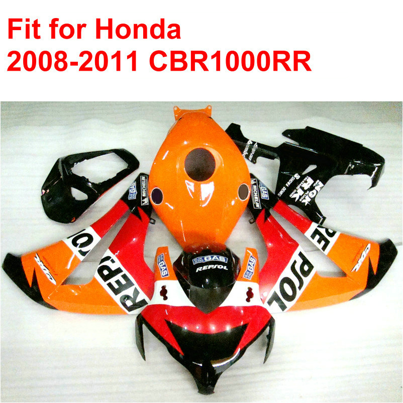100% fit for HONDA injection mold CBR1000RR fairings 2008 2009 2010 2011 red orange REPSOL fairing kit CBR 1000 RR 08-11 RT16(China (Mainland))